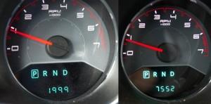 Le nombre de miles de la voiture avant et après